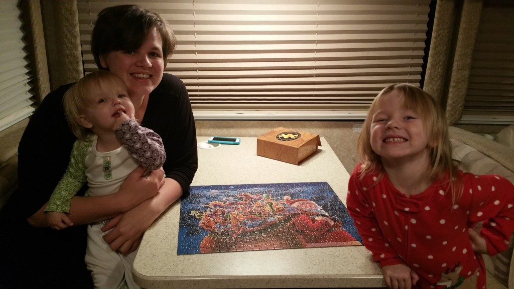 Lacie and the girls built a puzzle (Well, Lacie did 99.5% of it).