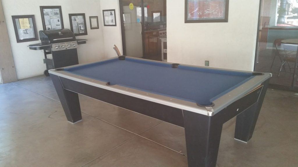 This was the most tilted pool table ever. It was awesome. Your balls would just continue to roll forever.