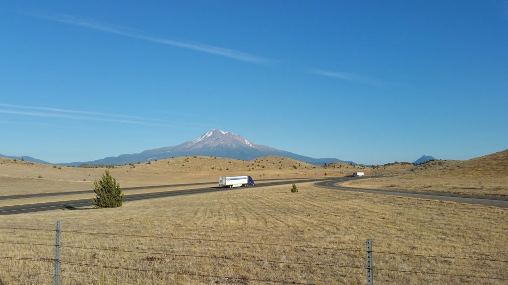 View of Mt Shasta from where our tire blew out on I-5
